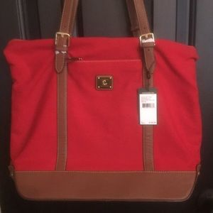 NWT Ralph Lauren red canvas tote w/ leather detail